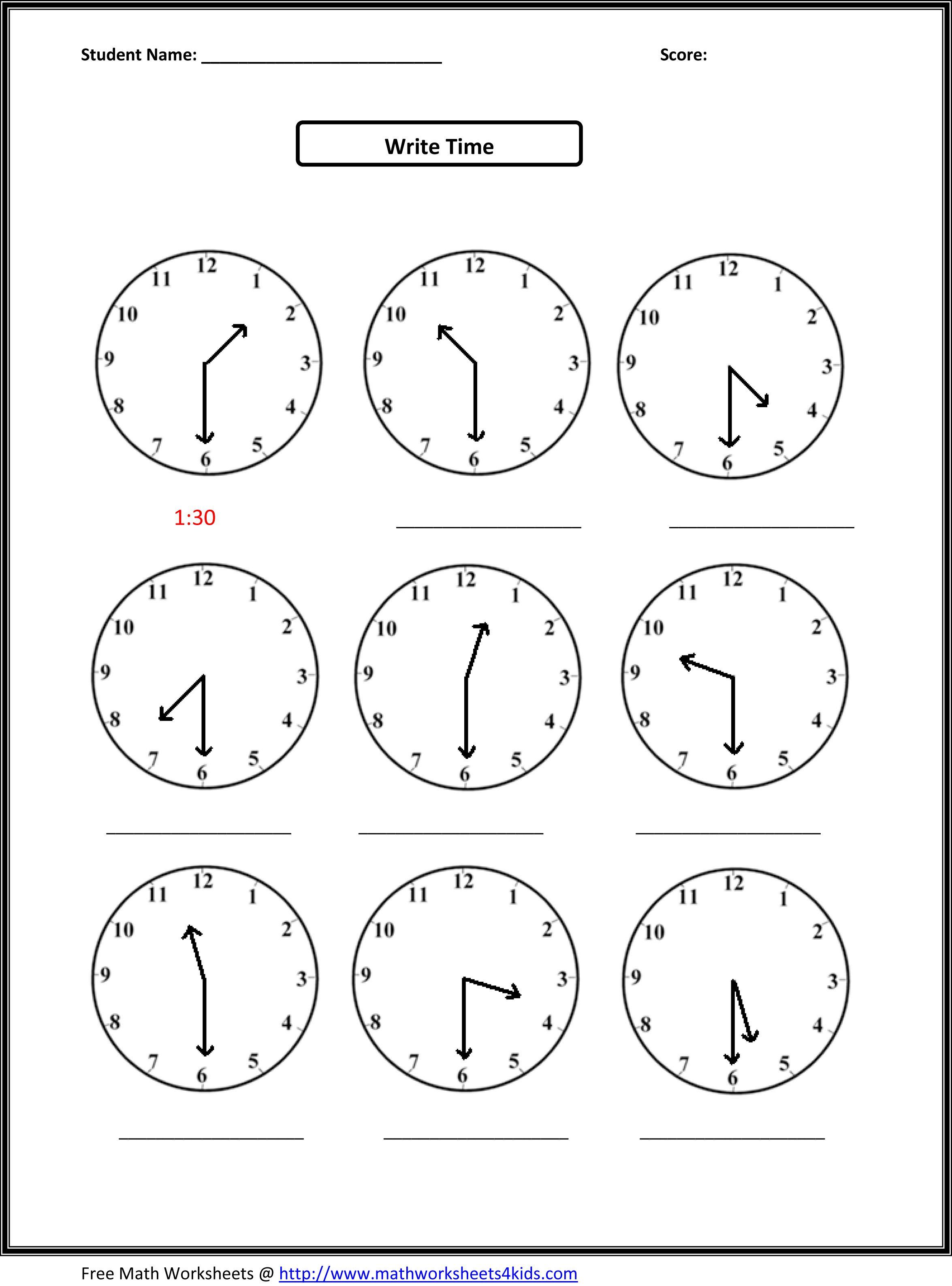 Free Printable Second Grade Math Worksheets » High School Worksheets - Free Printable Time Worksheets For Kindergarten