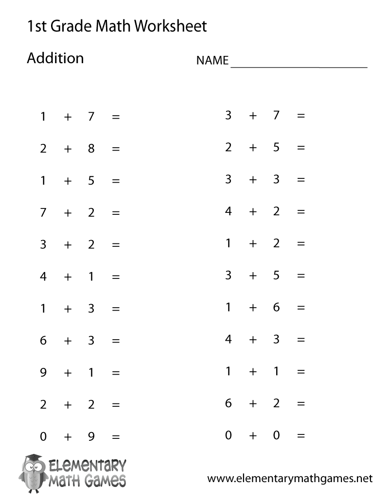 Free Printable Simple Addition Worksheet For First Grade - Free Printable First Grade Fraction Worksheets
