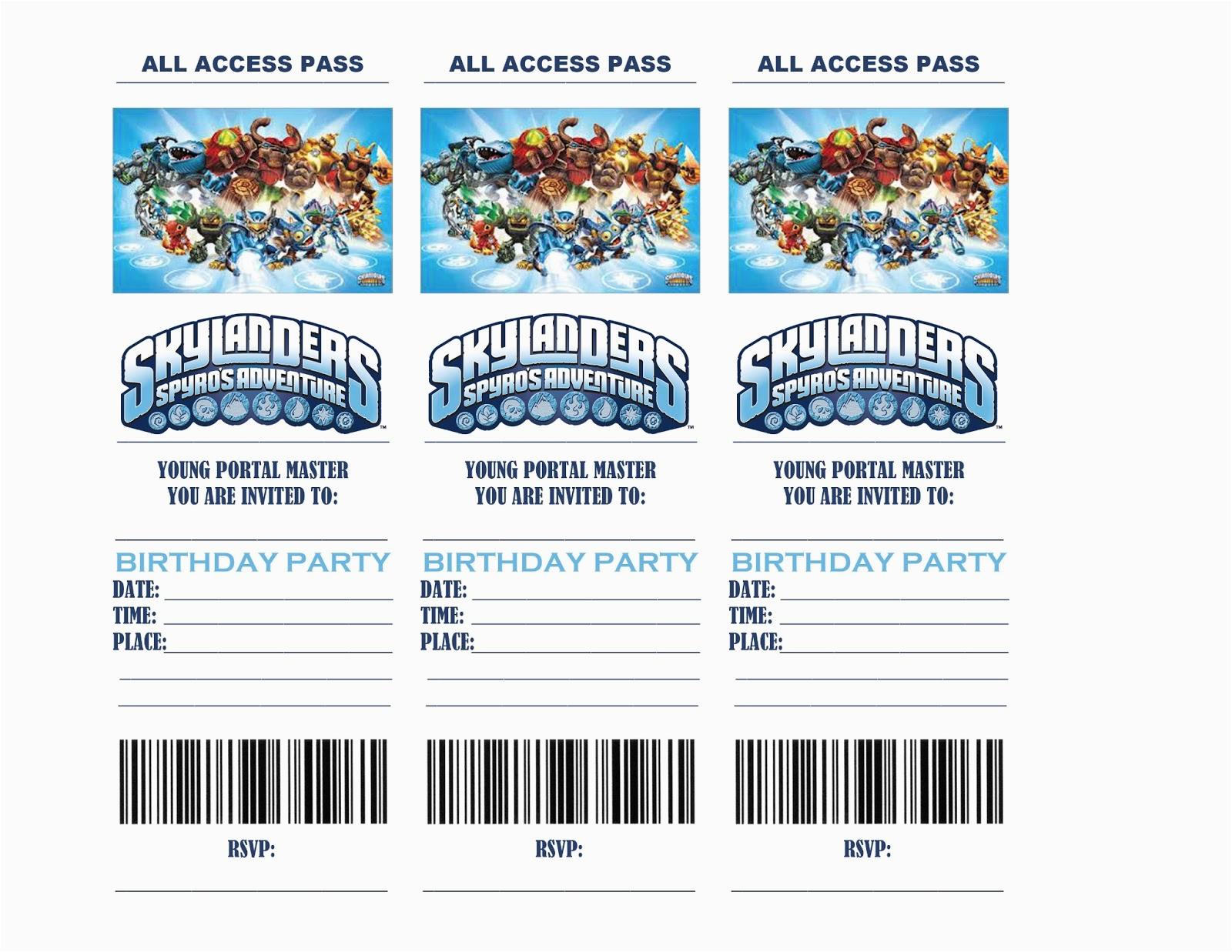 Free Printable Skylanders Birthday Invitations   Birthdaybuzz - Free Printable Skylander Invitations