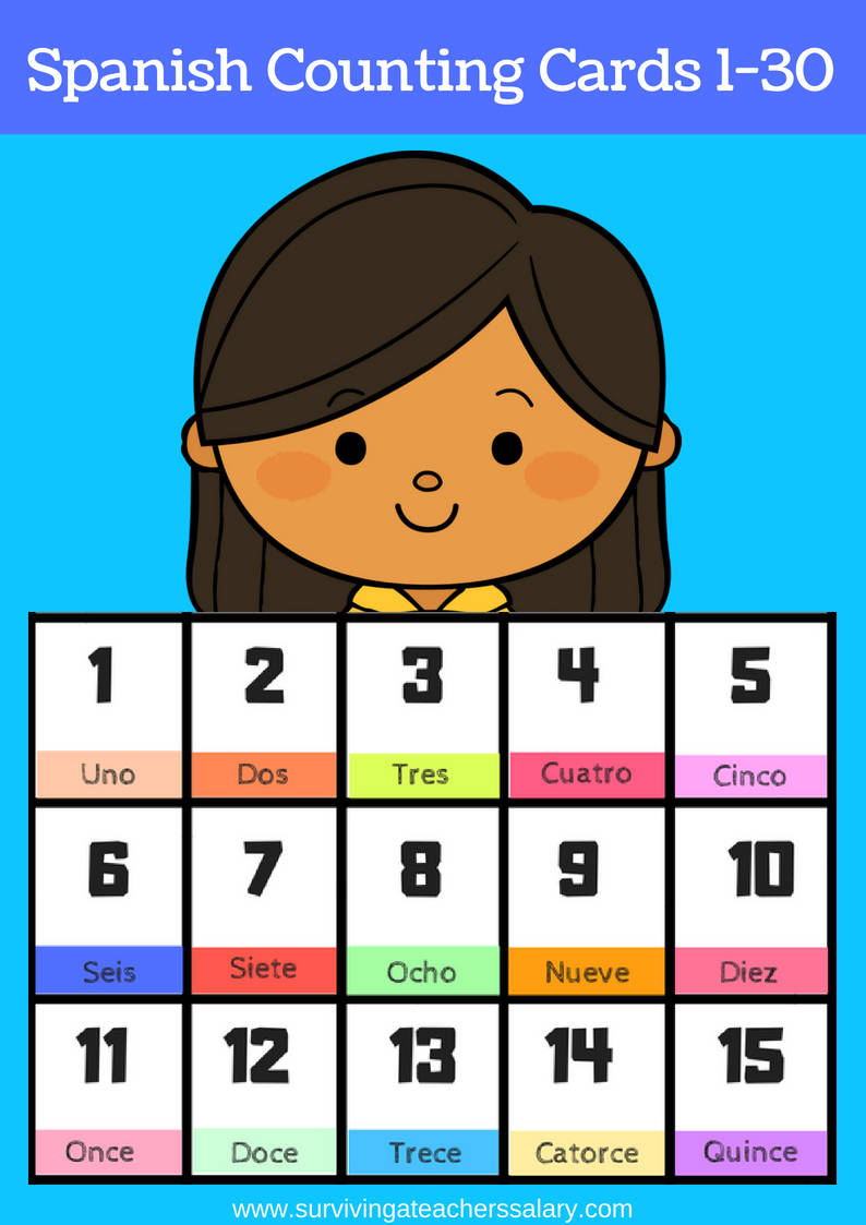 Free Printable Spanish Flashcards Numbers 1-30 - Free Printable Spanish Numbers