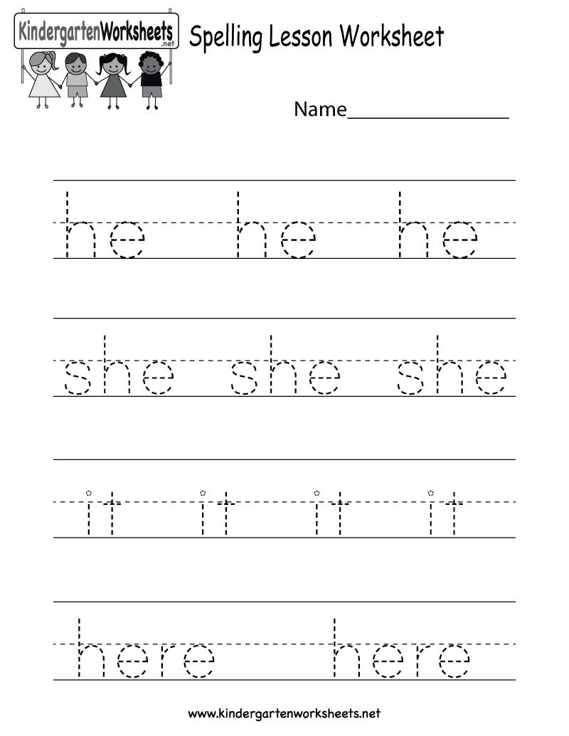 Free Printable Spelling Practice Worksheet For Kindergarten - Free Printable Spelling Practice Worksheets