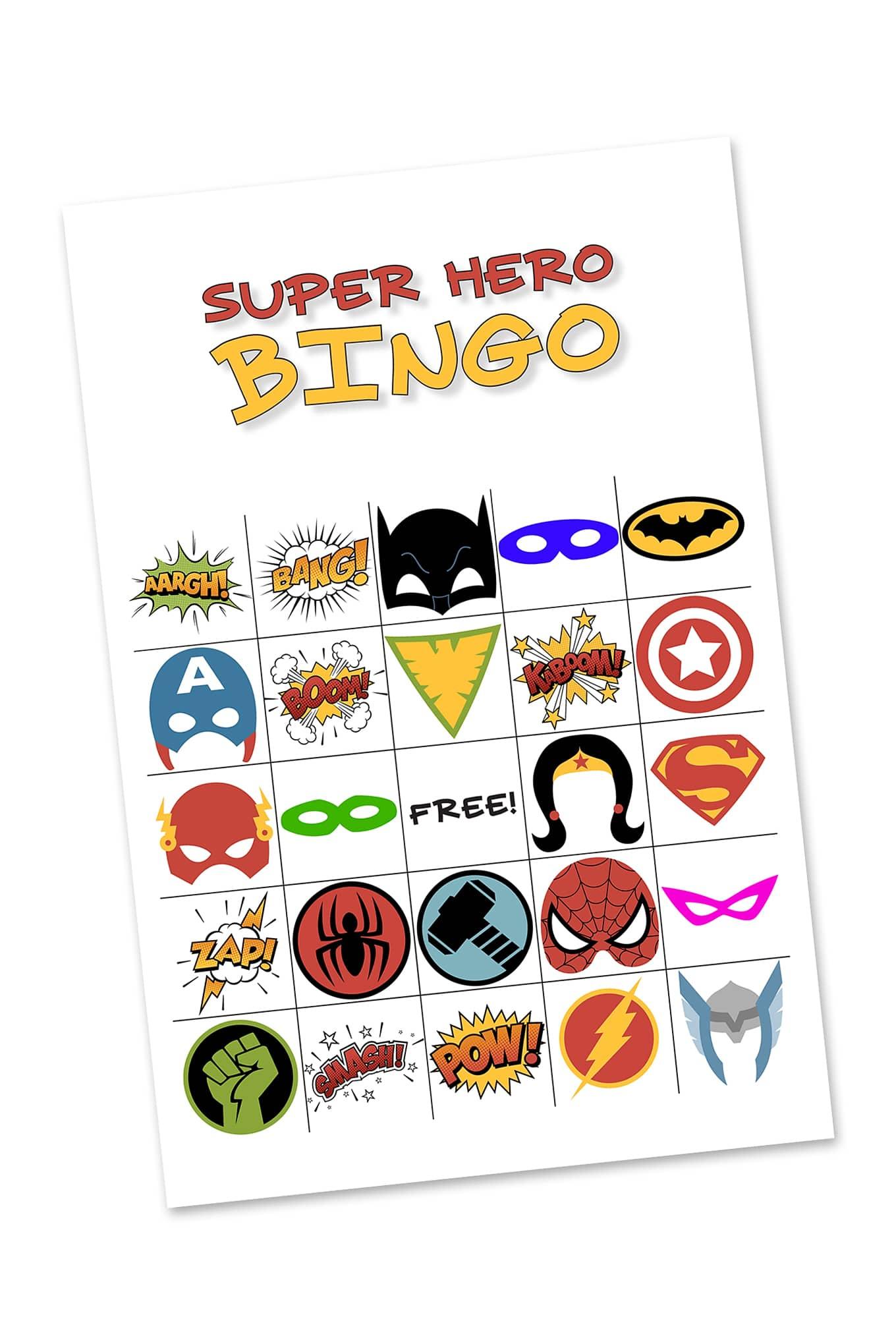 Free Printable Super Hero Bingo Party - Superhero Name Tags Free Printable