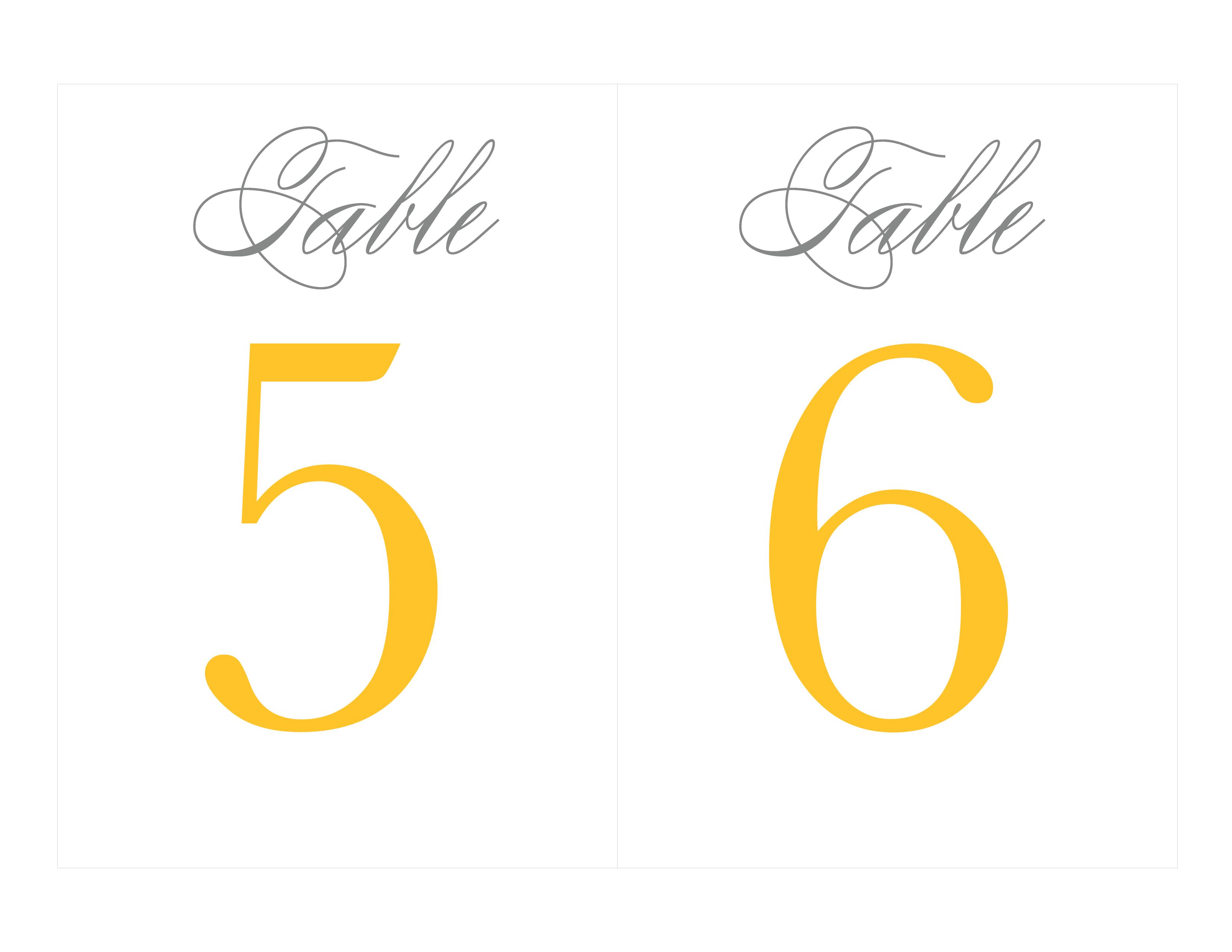 Free Printable Table Numbers | Wedding Ideas - Grey & Yellow - Free Printable Table Numbers