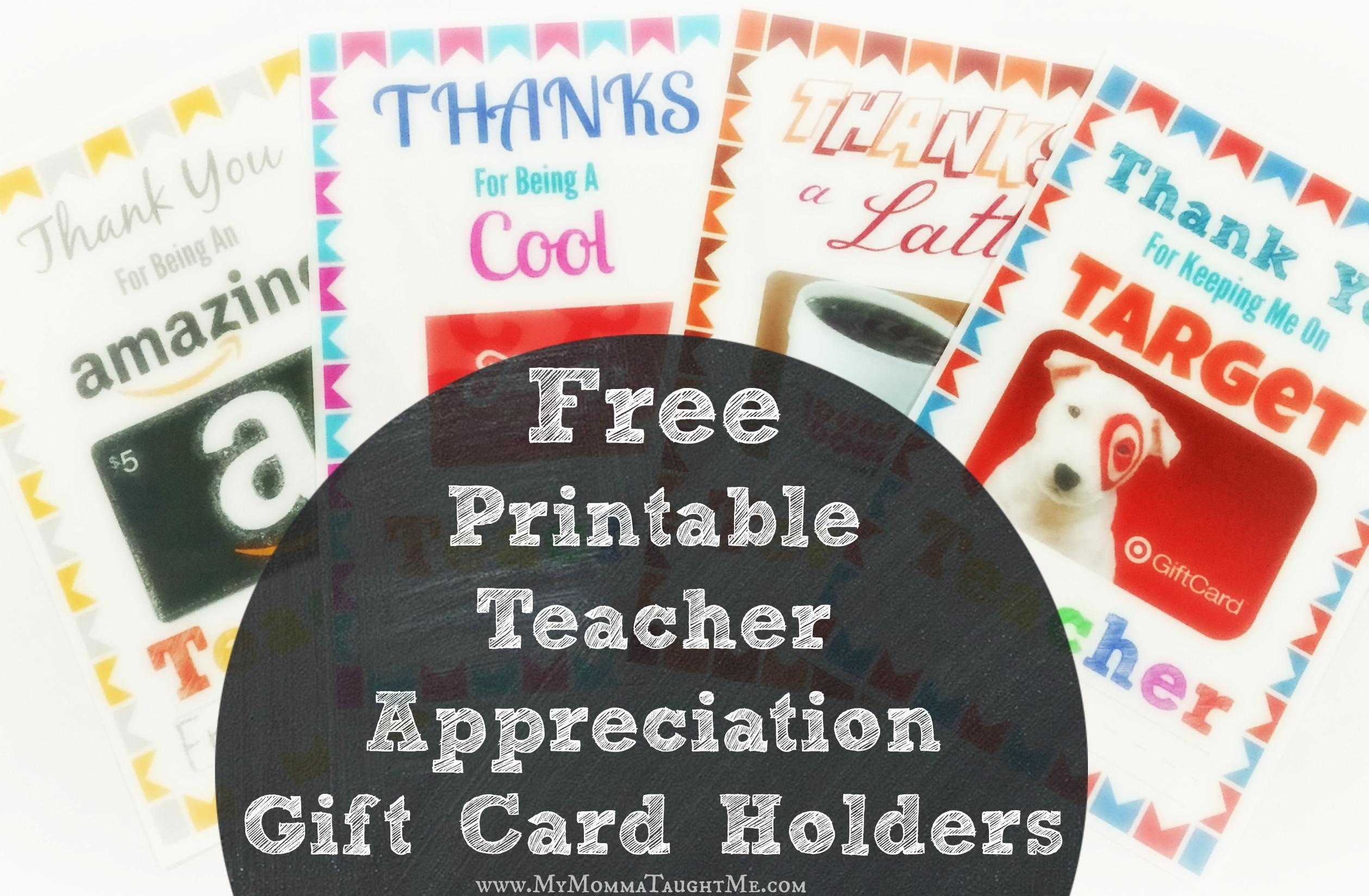 Free Printable Teacher Appreciation Gift Card Holders - Free Teacher Appreciation Week Printable Cards