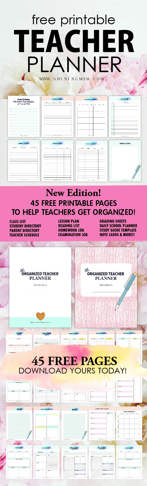 Free Printable Teacher Planner: 45+ School Organizing Templates! - Free Printable Teacher Planner