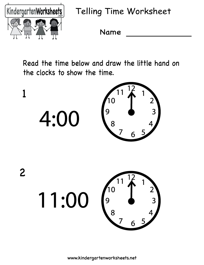 Free Printable Telling Time Worksheet For Kindergarten - Free Printable Telling Time Worksheets