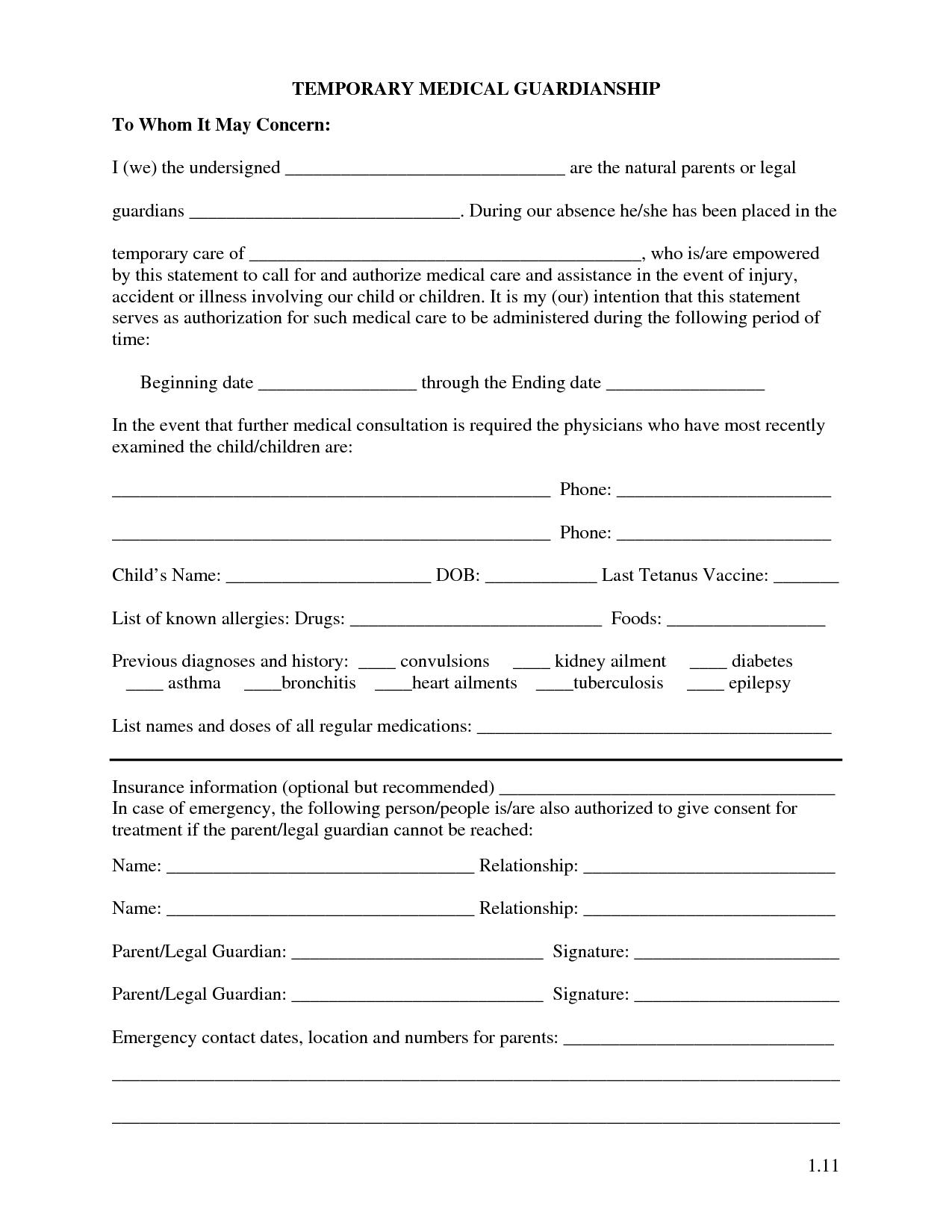 Free Printable Temporary Guardianship Forms   Forms - Free Printable Child Custody Forms