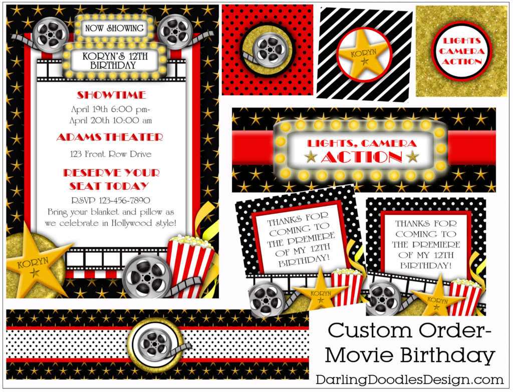 Free Printable Th Birthday Party Invitations Lovely Free Movie Night - Movie Birthday Party Invitations Free Printable