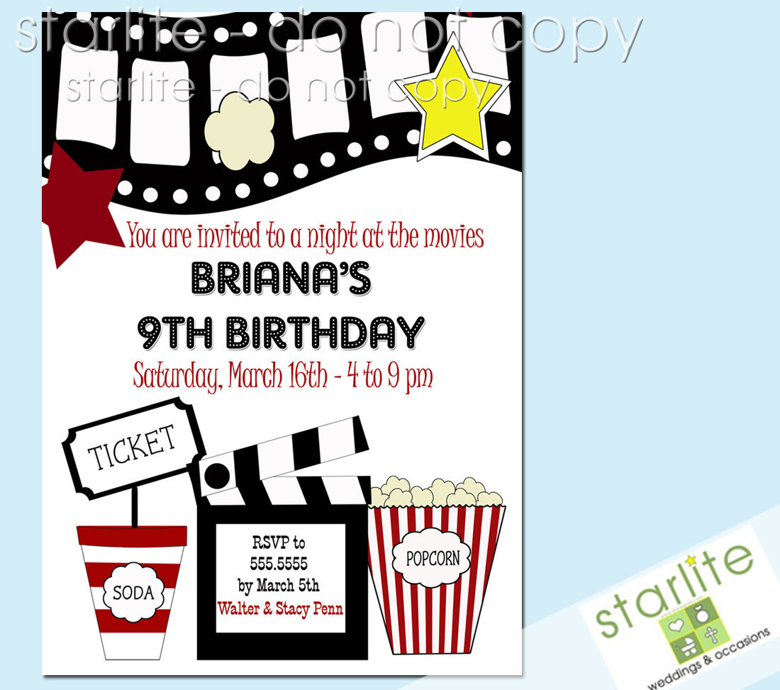 Free Printable Th Birthday Party Invitations Lovely Free Movie Night - Movie Night Birthday Invitations Free Printable