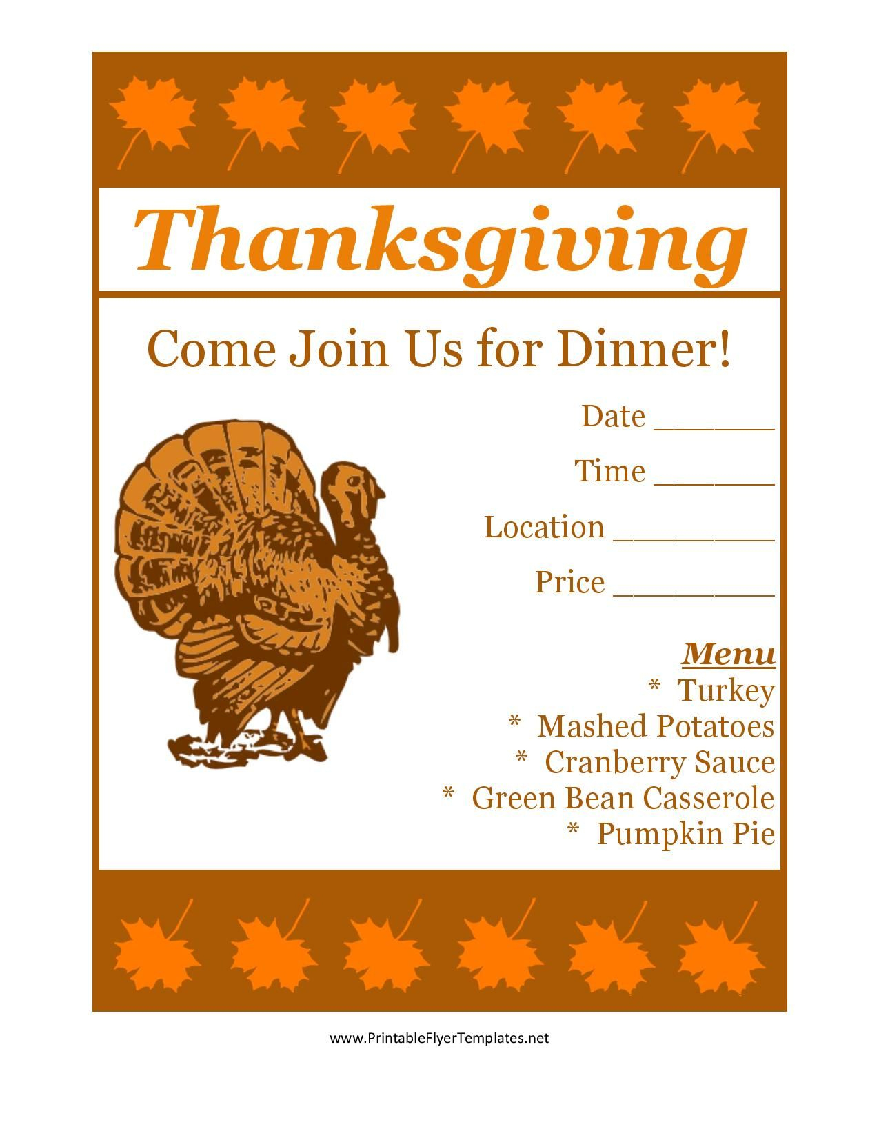 Free Printable Thanksgiving Flyer Invintation Template | Holiday's - Free Printable Flyers