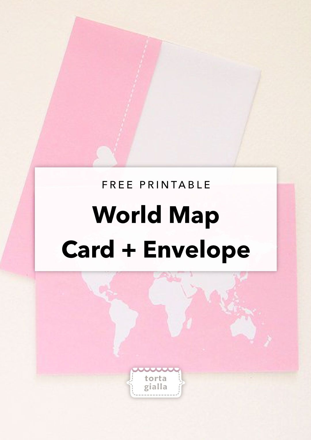 Free Printable Thinking Of You World Map Card And Envelope - Free Printable Thinking Of You Cards
