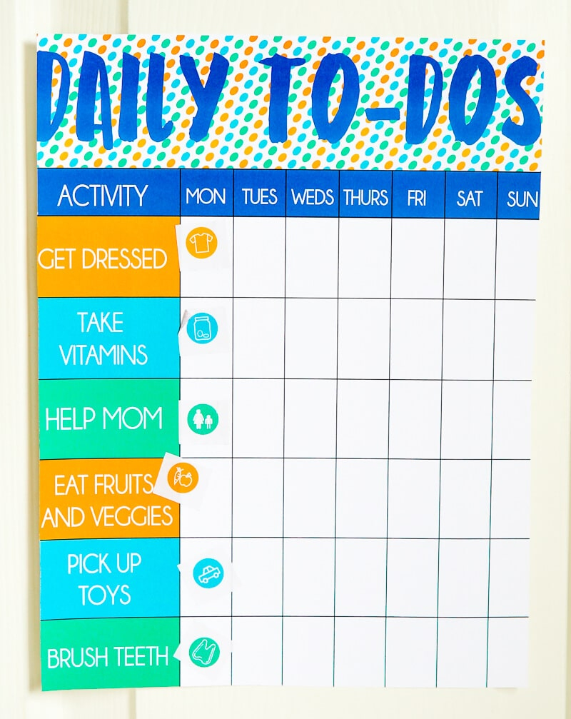 Free Printable Toddler Chore Chart And Stickers - Play.party.plan - Free Printable Toddler Chore Chart