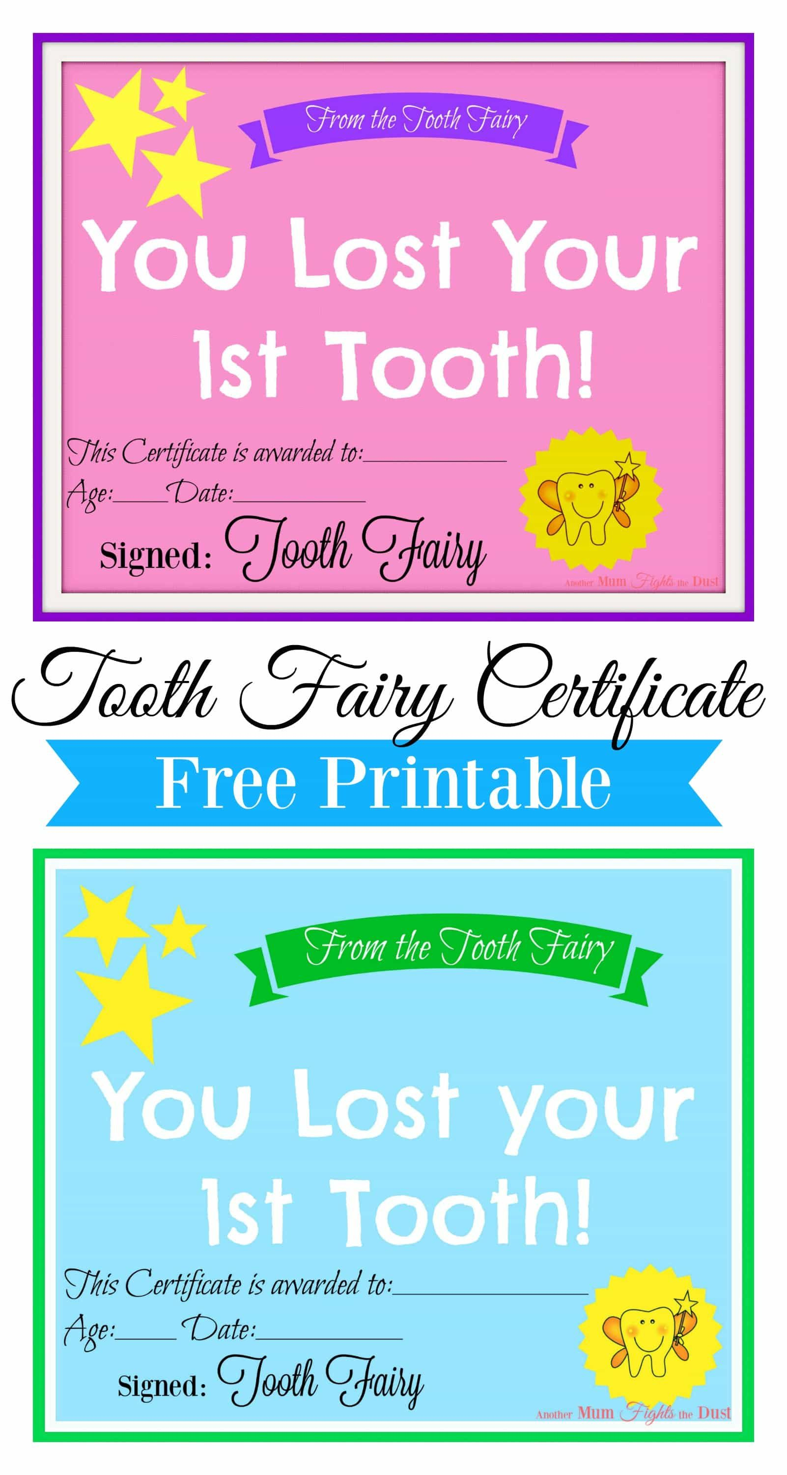 Free Printable Tooth Fairy Certificate | Tooth Fairy Ideas | Tooth - Free Printable Tooth Fairy Certificate