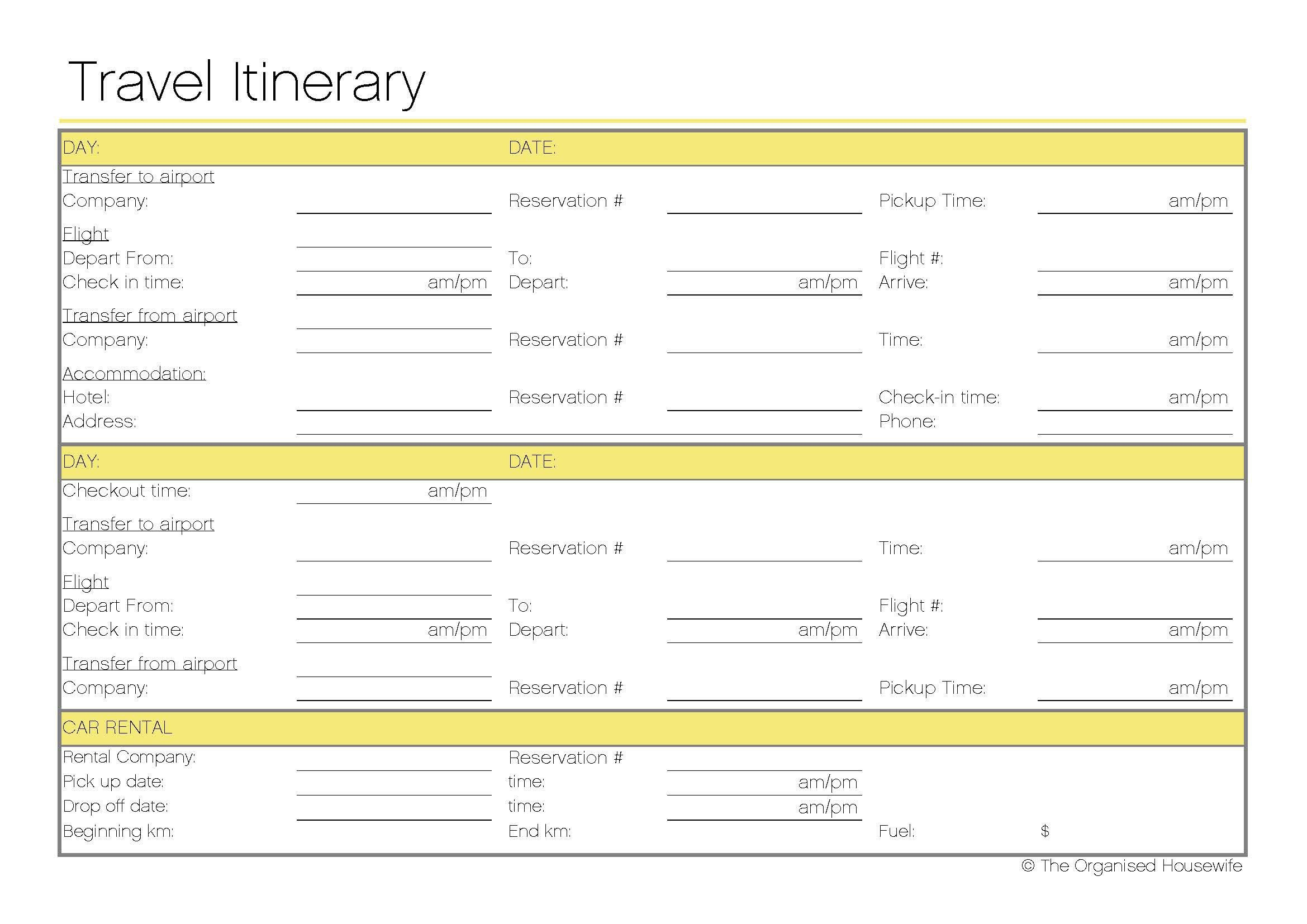 Free Printable - Travel Itinerary | Itineraries, Etc. | Pinterest - Free Printable Itinerary