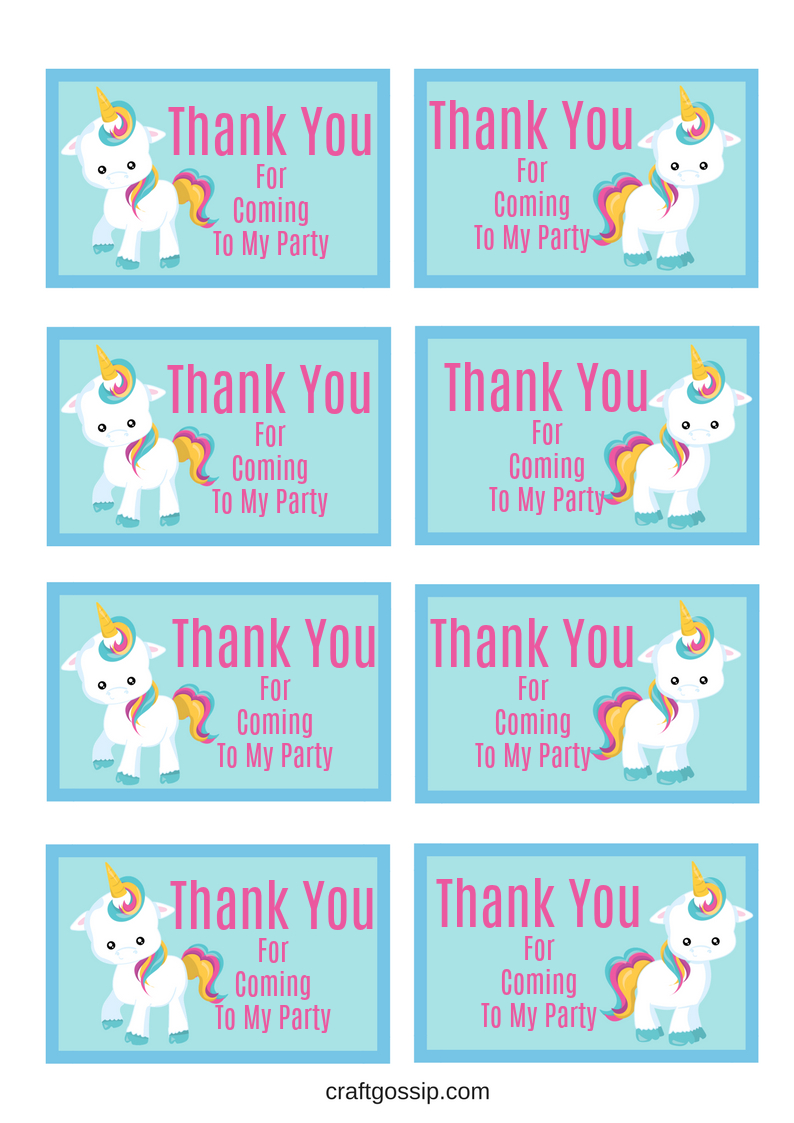 Free Printable Unicorn Party Gift Tag | Birthday Ideas - Thank You For Coming Free Printable Tags