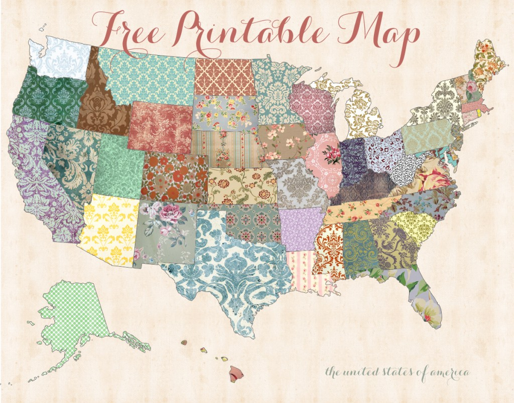Free Printable Usa Map – Shabby Chic - Free Printable Usa Map