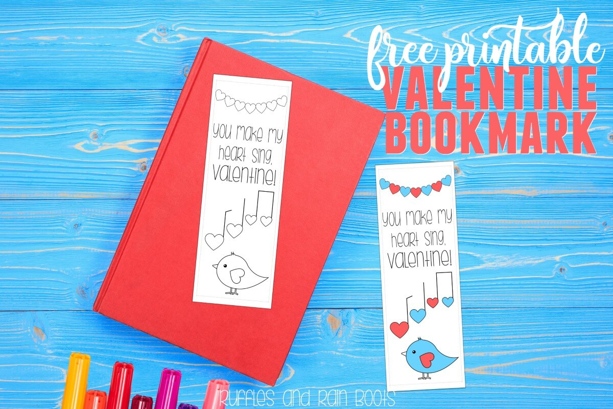 Free Printable Valentine Bookmark - Ruffles And Rain Boots - Free Printable Valentine Bookmarks