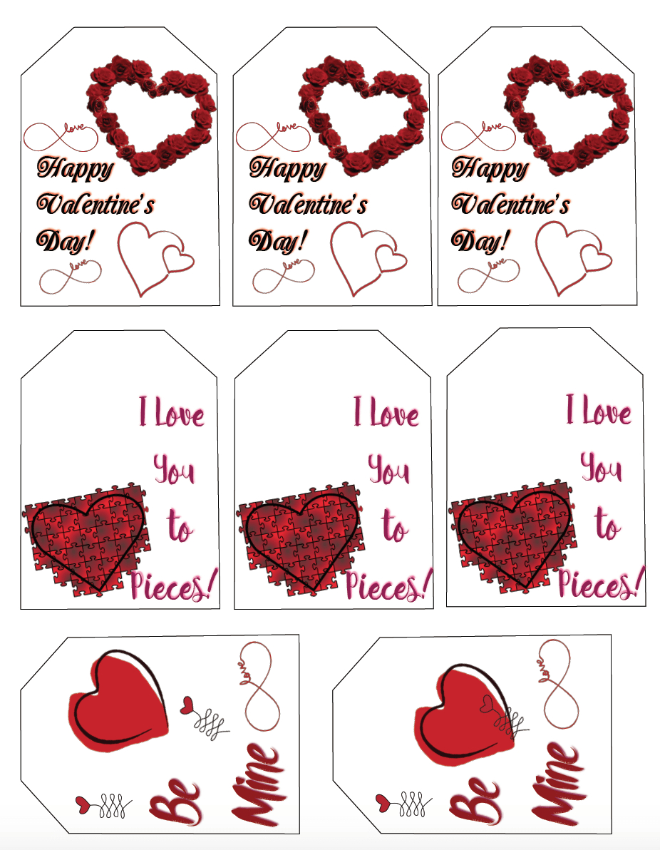 Free Printable Valentine's Day Gift Tags: Multiple Designs & Sizes - Free Printable Valentine Tags