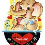 Free Printable Vintage Kids Valentine Elephant In Tub   Holidays   Free Printable Vintage Valentine Pictures