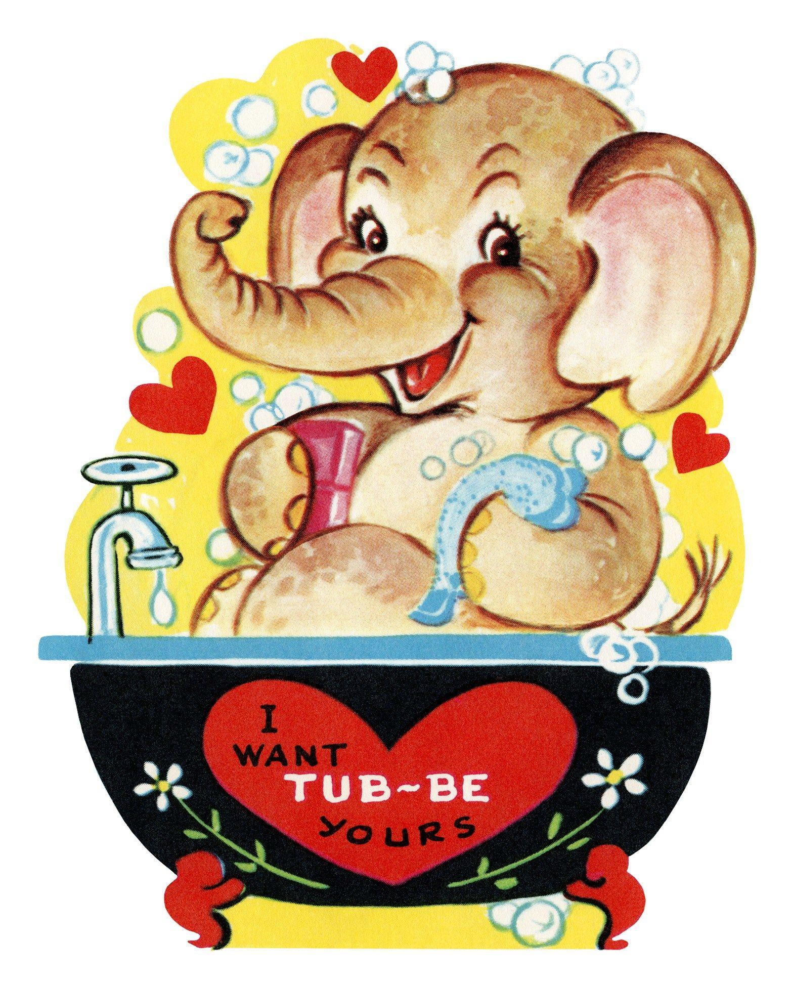 Free Printable Vintage Kids Valentine Elephant In Tub | Holidays - Free Printable Vintage Valentine Pictures