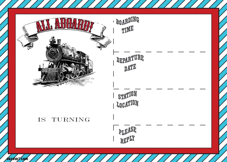 Free Printable Vintage Train Ticket Invitation | Free Printable - Free Printable Ticket Invitation Templates
