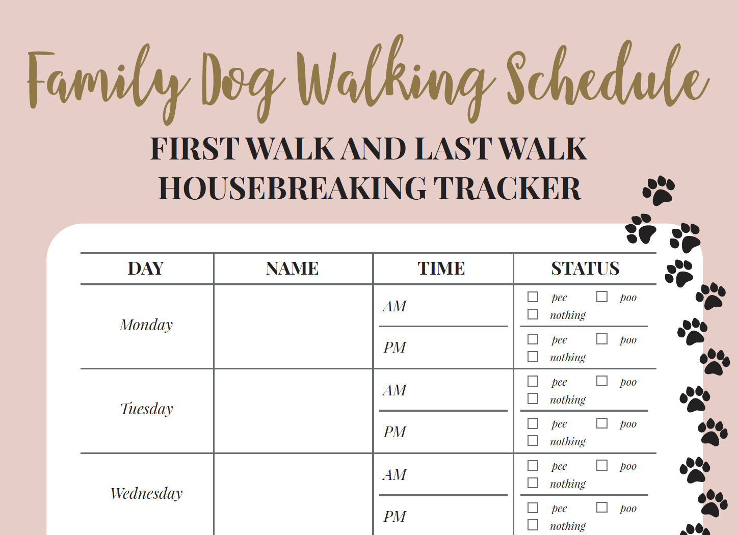 Free Printable Walking The Dog Log - How To Set A Schedule And - Free Printable Walking Log