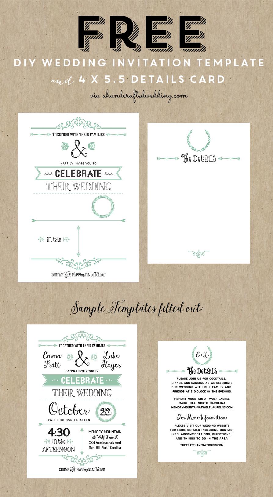 Free Printable Wedding Invitation Template | Wedding | Pinterest - Free Printable Wedding Menu Card Templates