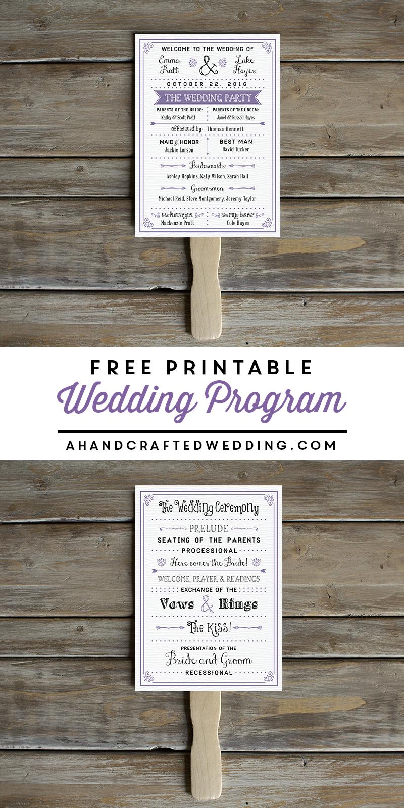 Free Printable Wedding Program   Crafty 2 The Core~Diy Galore - Free Printable Fan Wedding Programs