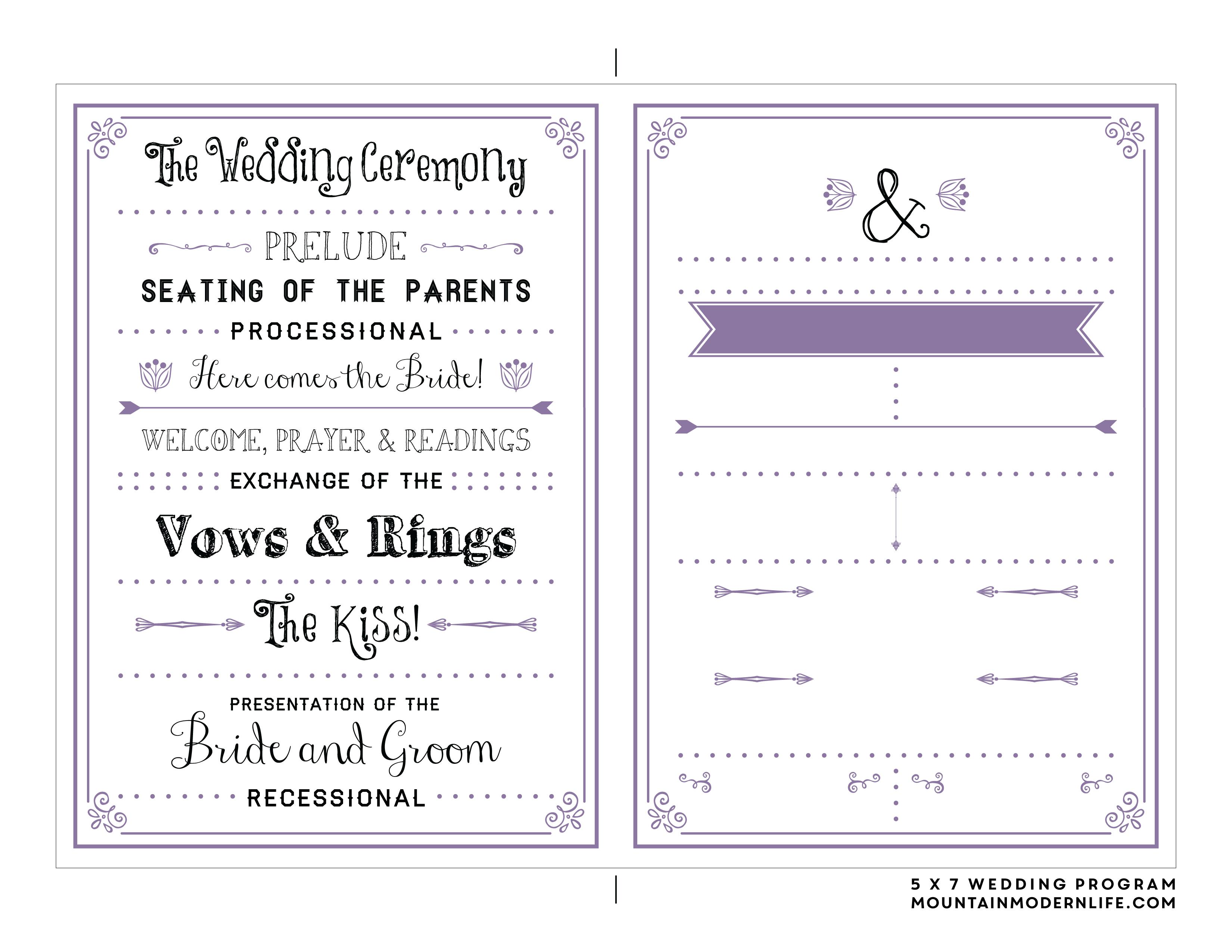 Free Printable Wedding Program   Wedding Ideas   Pinterest   Wedding - Free Printable Wedding Maps