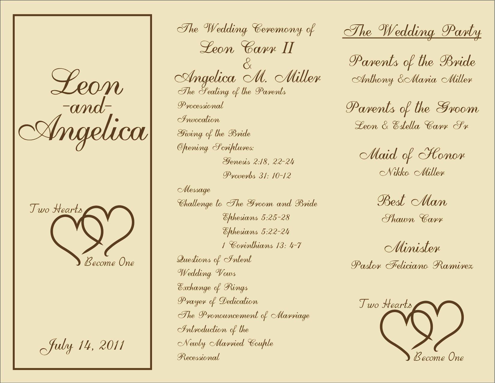 Free Printable Wedding Programs Templates | : Sample Wedding - Free Printable Wedding Program Templates