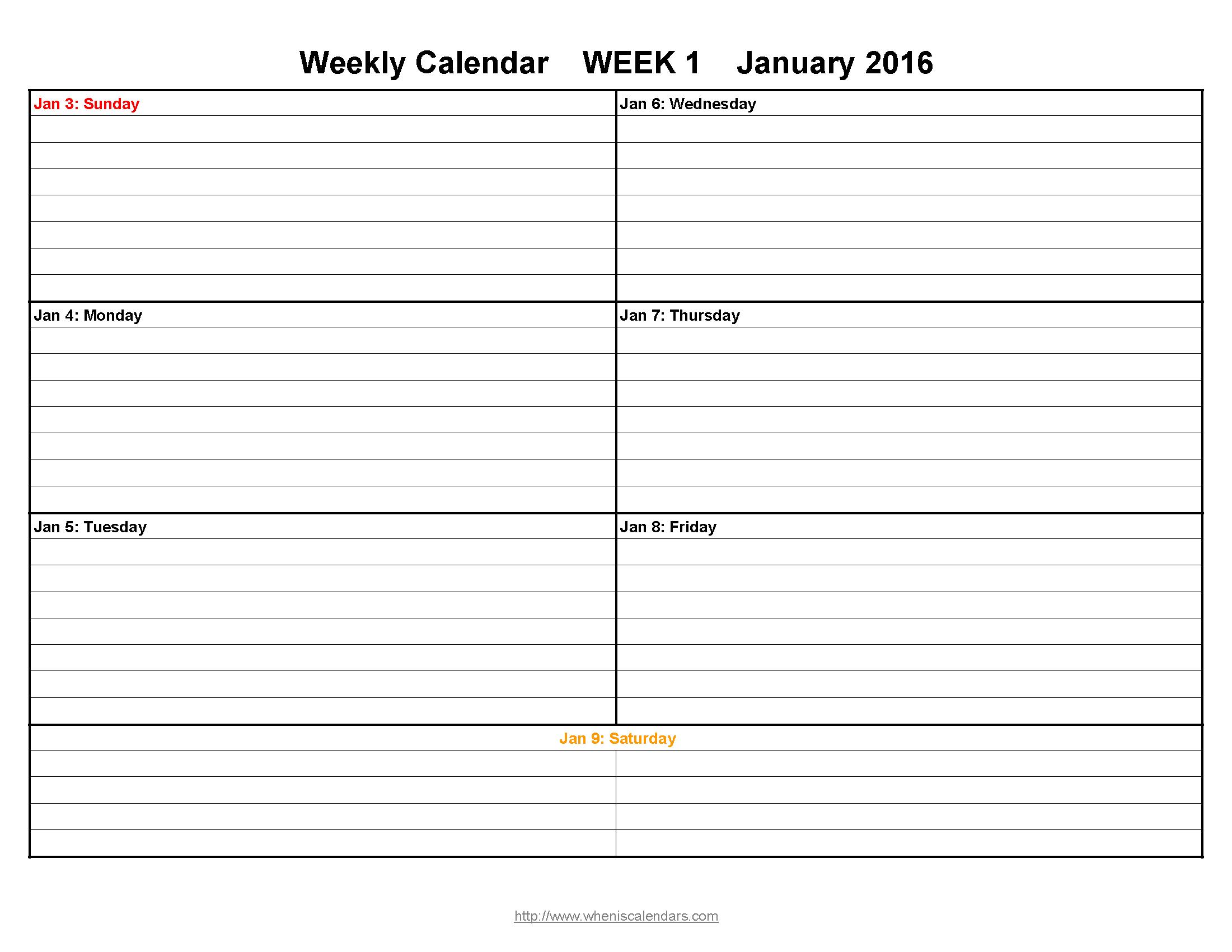 Free Printable Weekly Calendars 2016   Aaron The Artist - Free Printable Pocket Planner 2016