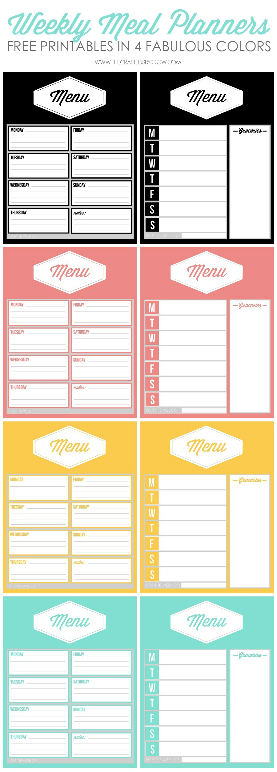 Free Printable Weekly Meal Planners - Weekly Menu Free Printable