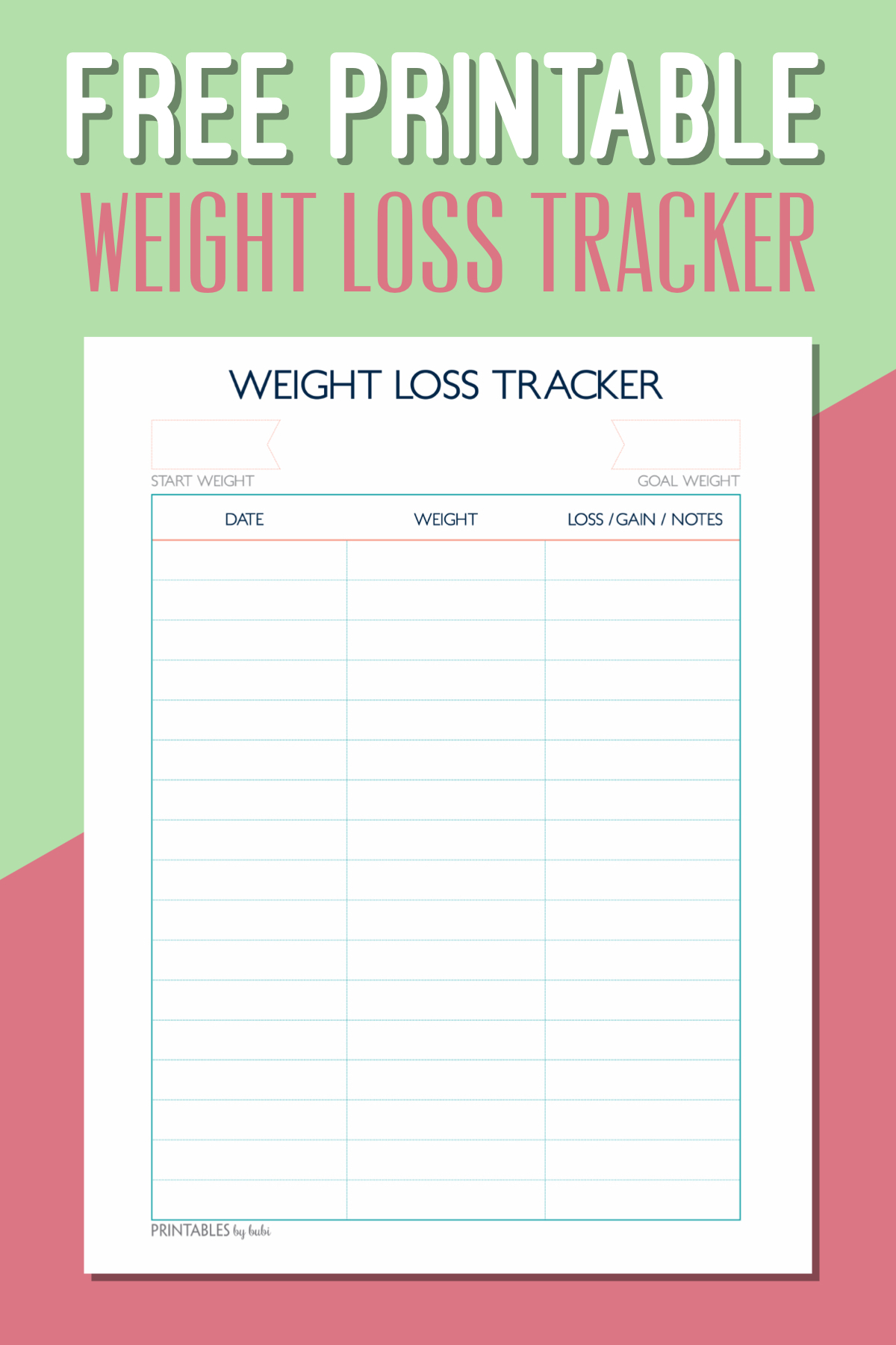 Free Printable Weight Loss Tracker – Instant Download Pdf - Free Printable Weight Loss Tracker Chart