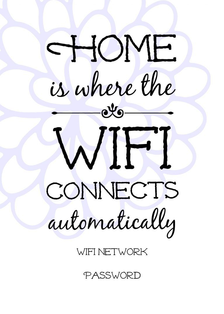 Free Printable Wifi Sign, Guest Room Ideas.   Wifi Projects - Free Printable Wifi Sign