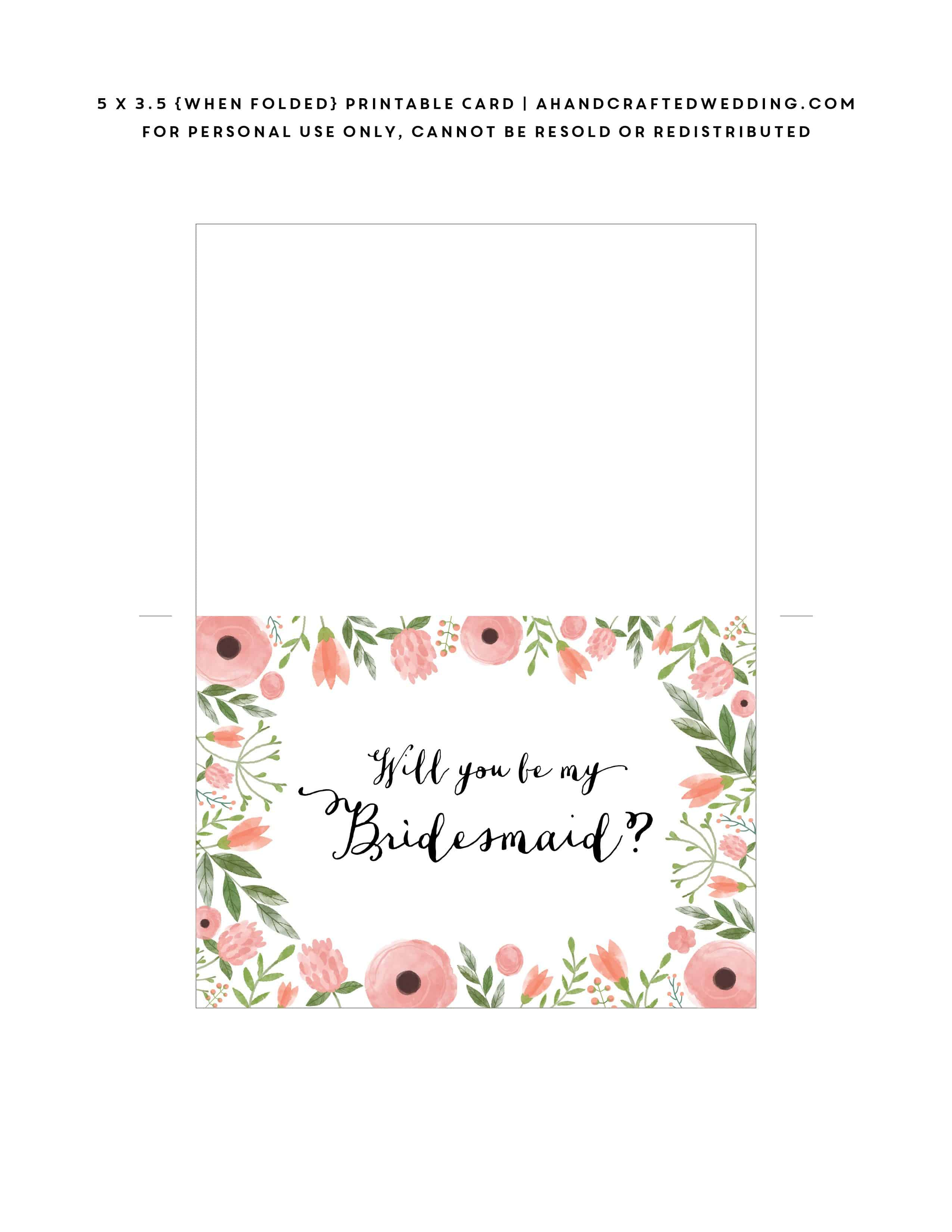 Free Printable Will You Be My Bridesmaid Card | Mountain Modern Life - Free Printable Will You Be My Bridesmaid Cards