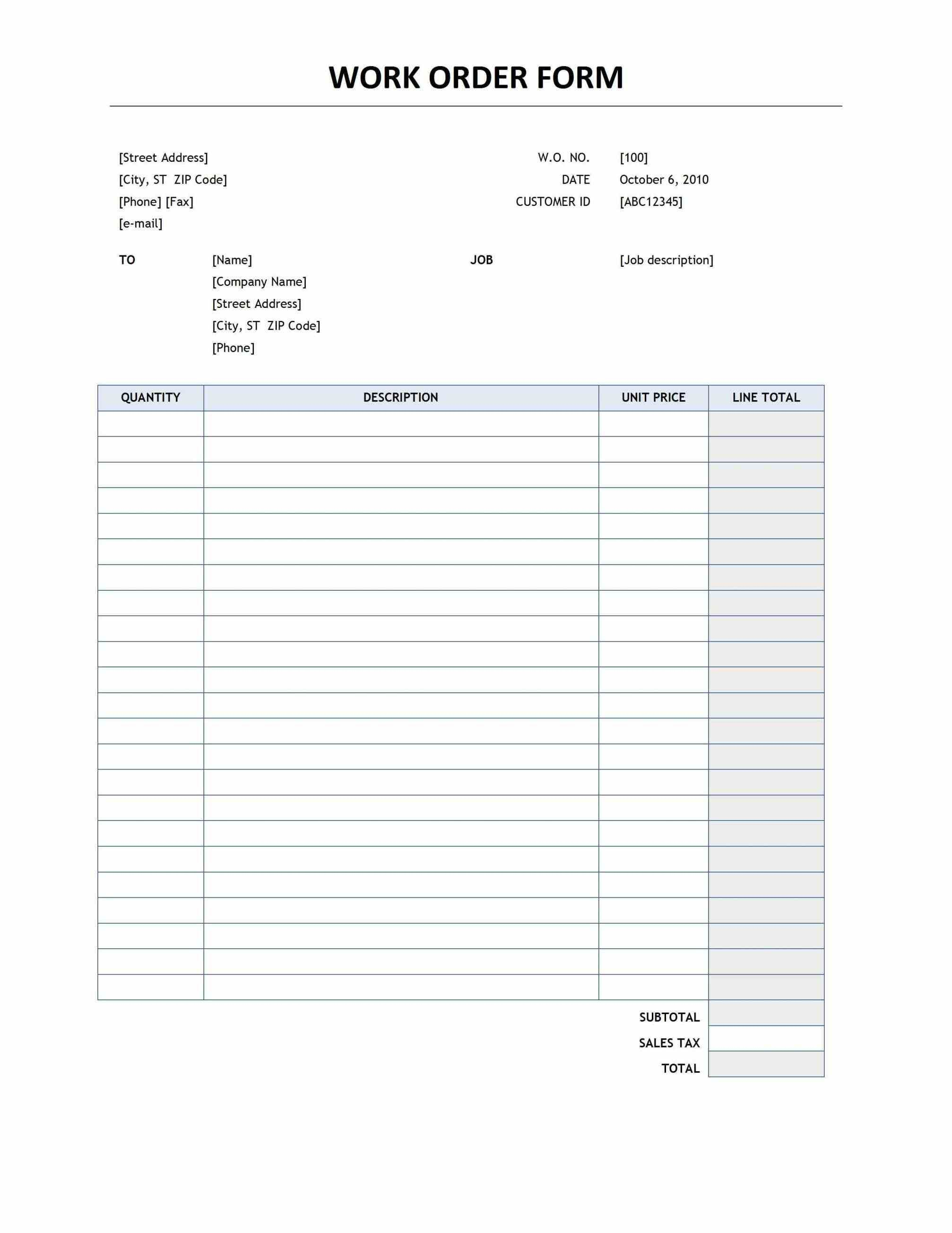 Free Printable Work Order Template Forms Orders Invoice - Condo - Free Printable Work Invoices