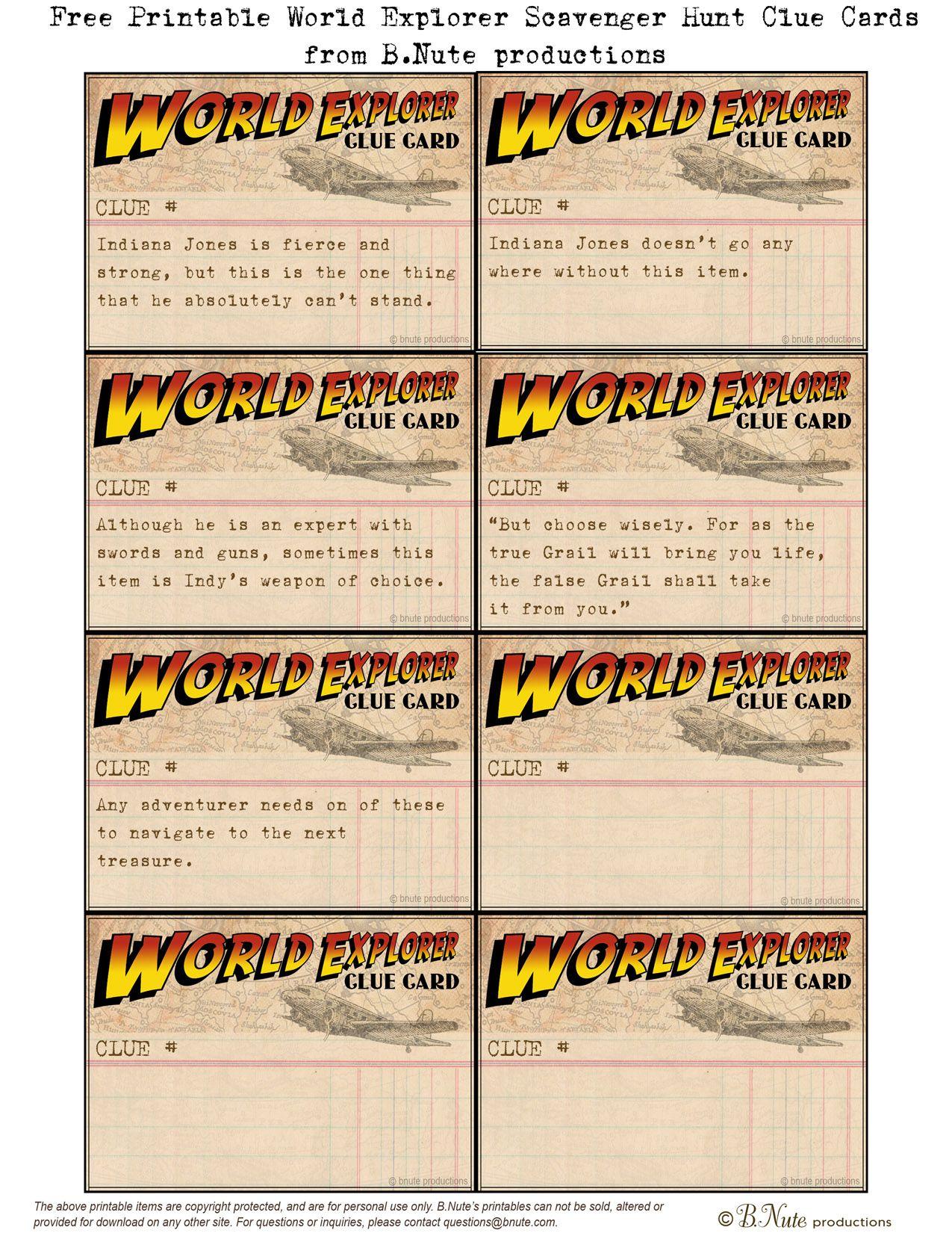 Free Printable World Explorer Indiana Jones Scavenger Hunt Game - Free Printable Treasure Hunt Games