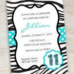 Free Printable Zebra Party Invitations | Printable Pink Turquoise   Free Printable Cheetah Birthday Invitations