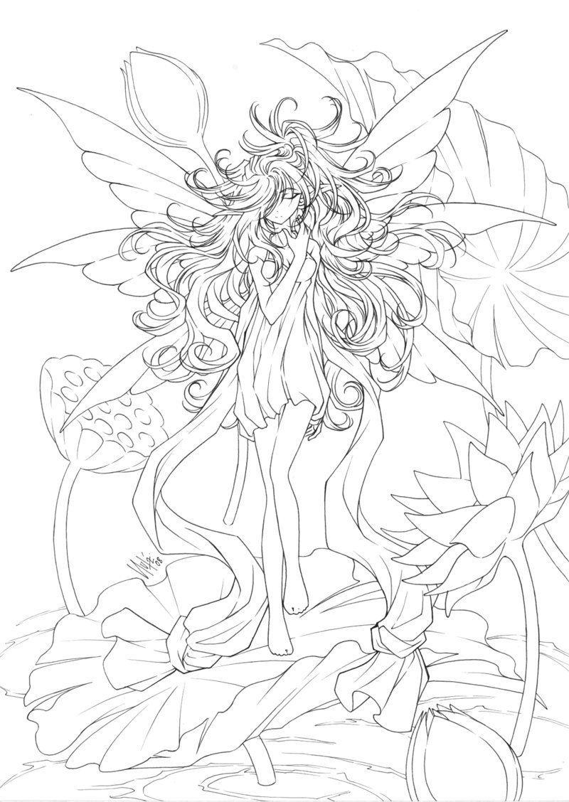 Free Printables: Almost Anime Fairy Coloring Page | Printables - Free Printable Coloring Pages For Adults Dark Fairies
