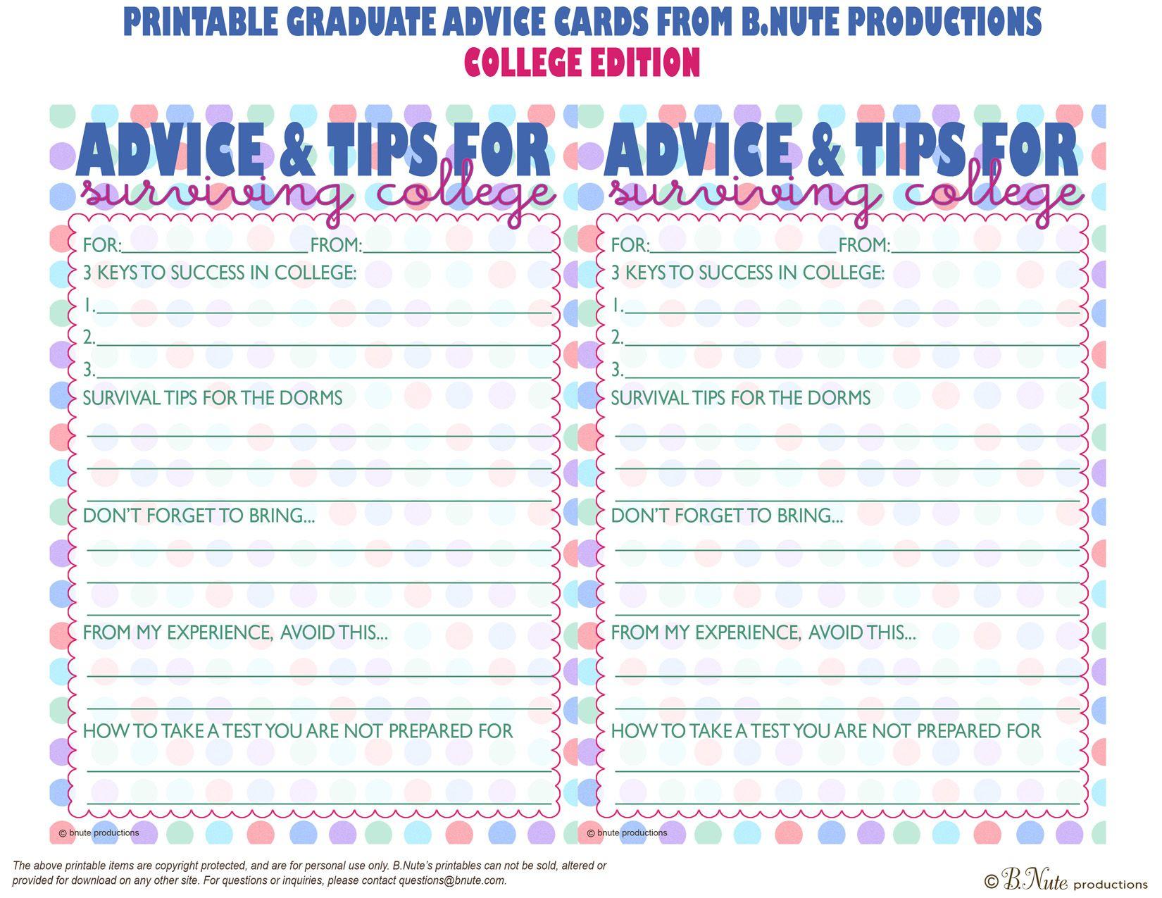 Free Printables | Free Printable Graduate Advice Cards - College - Free Printable Graduation Advice Cards