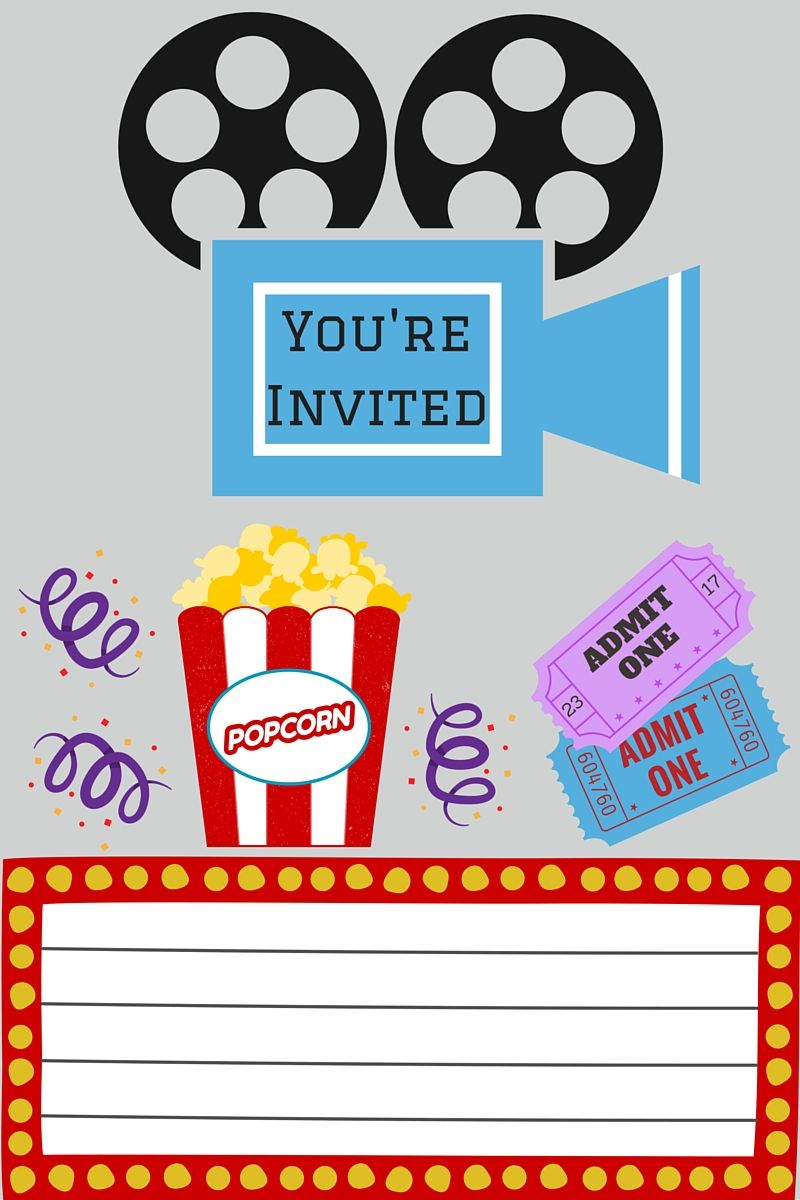 Free Printables | Movie Night Party | Movie Night Invitations, Movie - Movie Night Birthday Invitations Free Printable