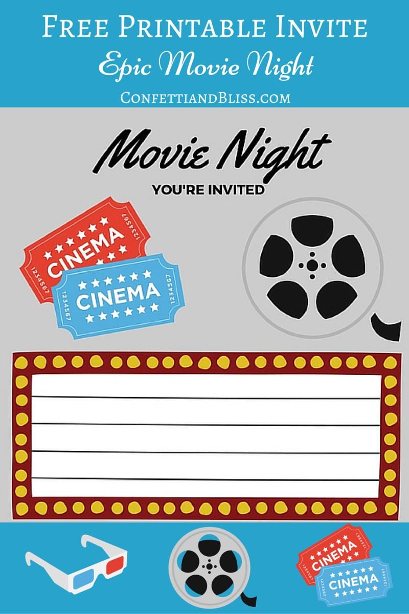 Free Printables | Printable Movie Night Invite - Movie Night Birthday Invitations Free Printable