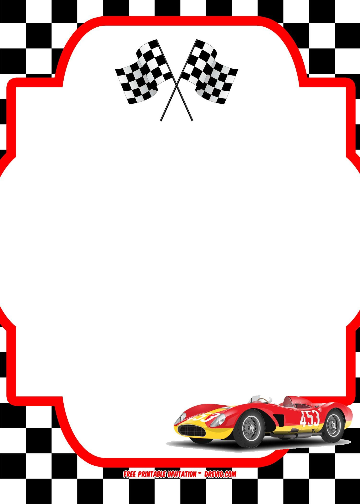 Free Race Car Birthday Invitation Template - | Free Printable - Free Printable Birthday Invitations Cars Theme