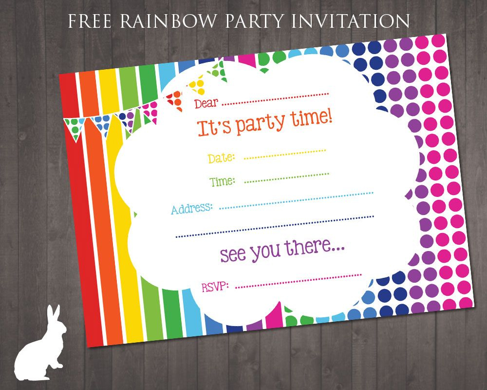 Free Rainbow Party Invitation | Ruby And The Rabbit | Rainbow Party - Free Printable Birthday Invitations With Pictures