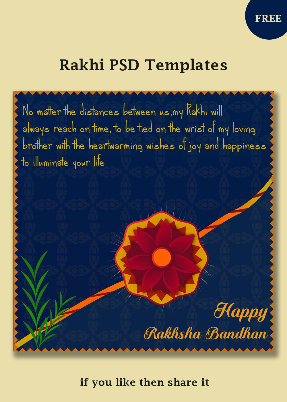 Free Rakhi Vector Templates | Social Post Design | Templates, Rakhi - Free Online Printable Rakhi Cards