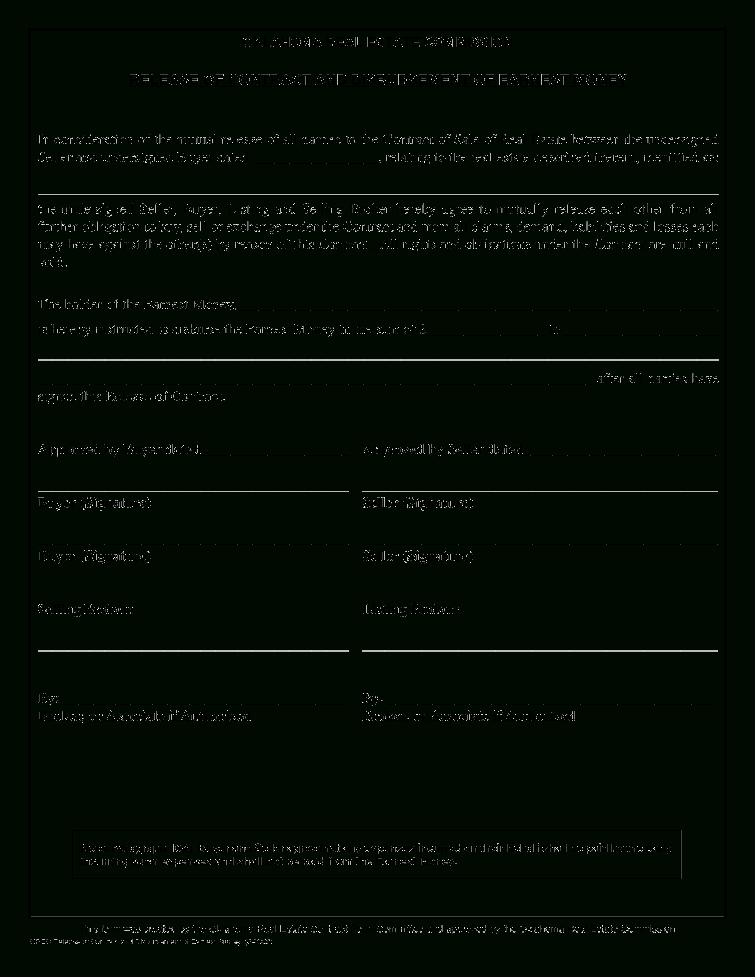 Free Real Estate Contract Release Form | Templates At - Free Printable Real Estate Contracts