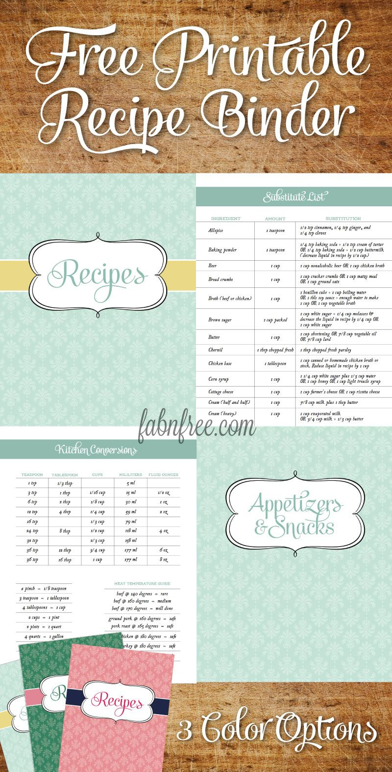 Free Recipe Binder In 3 Color Options | Recipe Binder Ideas - Free Printable Recipe Binder