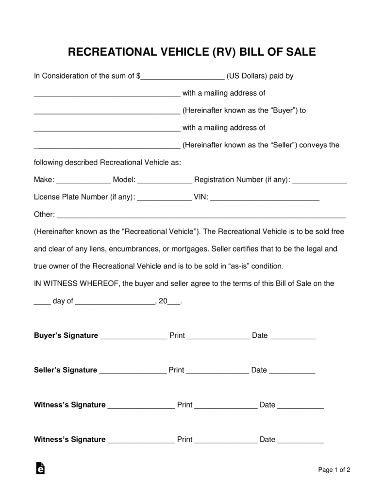 Free Recreational Vehicle (Rv) Bill Of Sale Form - Word   Pdf - Free Printable Bill Of Sale For Trailer