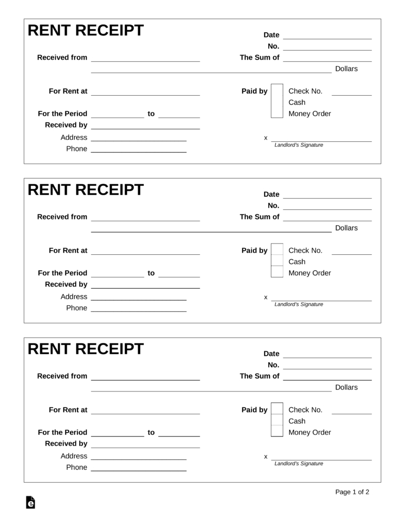 Free Rent Receipt Template - Pdf | Word | Eforms – Free Fillable Forms - Free Printable Rent Receipt