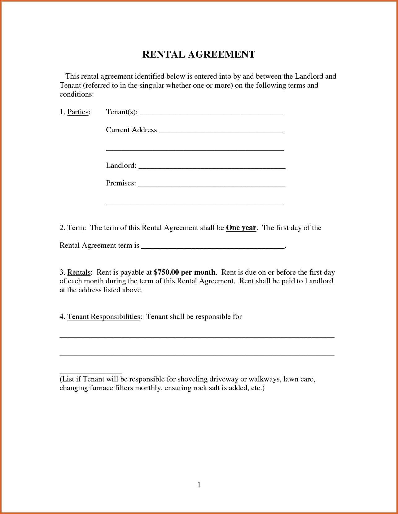 Free Rental Lease Agreement Letterhead Template Sample Rent Image - Free Printable Basic Will
